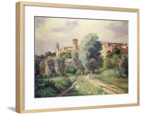 Two Women in the Countryside; Deux Femmes a La Campagne-Henri Lebasque-Framed Art Print