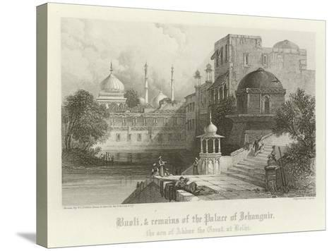 Baoli and Remains of the Palace of Jahangir, Delhi, India-Thomas Colman Dibdin-Stretched Canvas Print