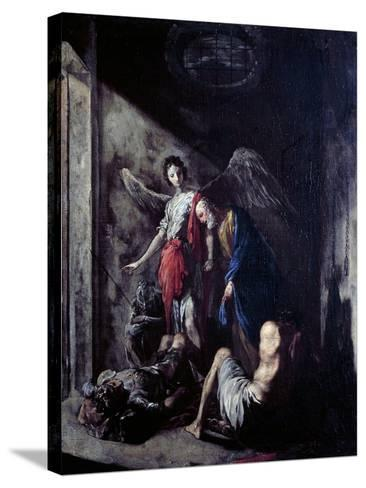 St Peter Being Freed by the Angel-Johann Heinrich Schonfeld-Stretched Canvas Print