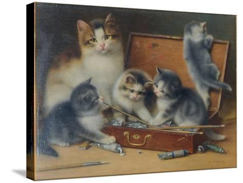 Mother Cat and Her Kittens Playing in a Paint Box-Wilhelm Schwar-Stretched Canvas Print
