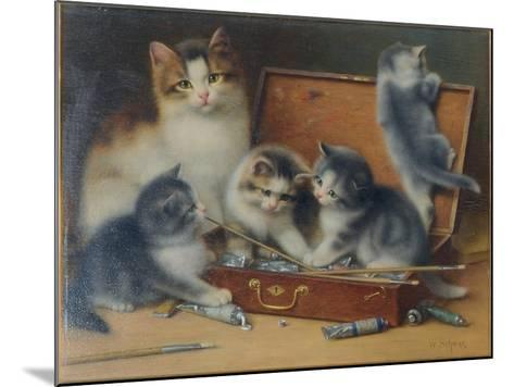 Mother Cat and Her Kittens Playing in a Paint Box-Wilhelm Schwar-Mounted Giclee Print