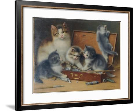 Mother Cat and Her Kittens Playing in a Paint Box-Wilhelm Schwar-Framed Art Print