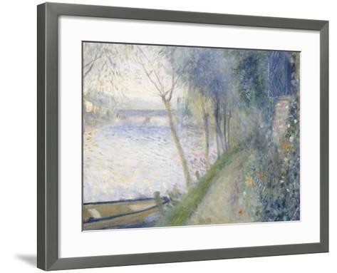 Landscape at the Edge of the Seine with the Pont D'Argenteuil-Pierre-Auguste Renoir-Framed Art Print