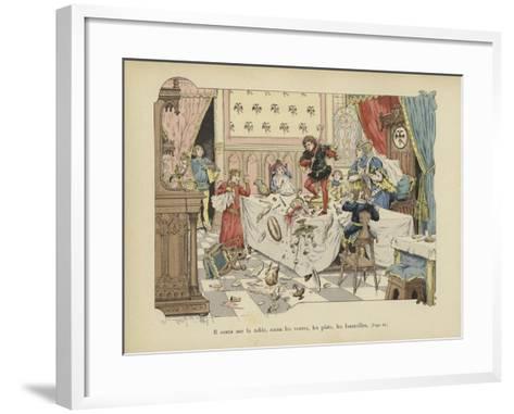 He Jumped onto the Table, Breaking Glasses, Plates and Bottles-Paul de Semant-Framed Art Print