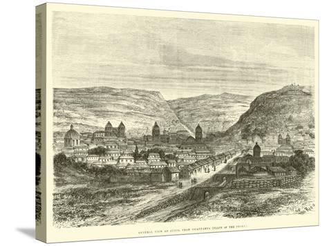 General View of Cuzco, from Iscaypampa, Plain of the Thorn-?douard Riou-Stretched Canvas Print