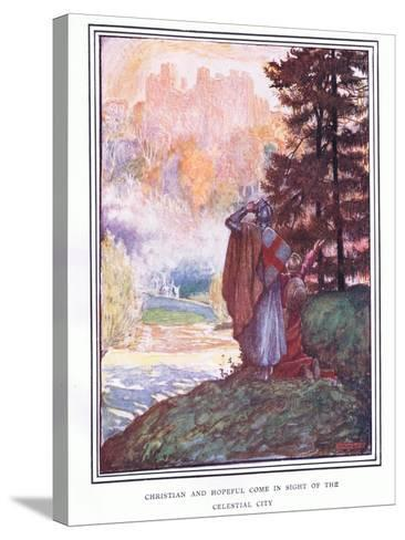 Christian and Hopeful Come in Sight of the Celestial City-John Byam Liston Shaw-Stretched Canvas Print