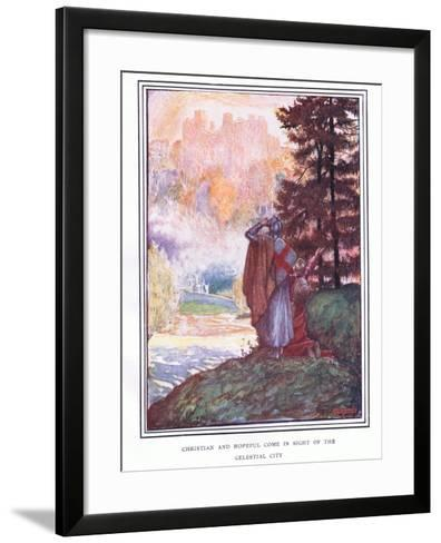 Christian and Hopeful Come in Sight of the Celestial City-John Byam Liston Shaw-Framed Art Print