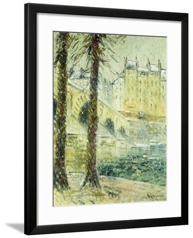 The Pont Marie in the Snow; Le Pont Marie, Effet De Neige, C.1926-Gustave Loiseau-Framed Art Print
