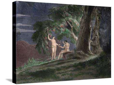 Eve Gives Adam the Forbidden Fruit-John Martin-Stretched Canvas Print