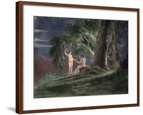 Eve Gives Adam the Forbidden Fruit-John Martin-Framed Art Print