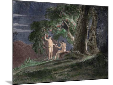 Eve Gives Adam the Forbidden Fruit-John Martin-Mounted Giclee Print