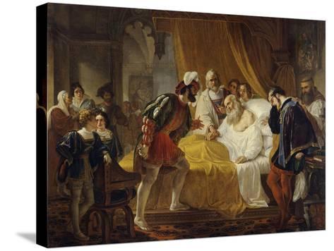 Francis I at the Deathbed of Leonardo Da Vinci, 1828-Cesare Mussini-Stretched Canvas Print