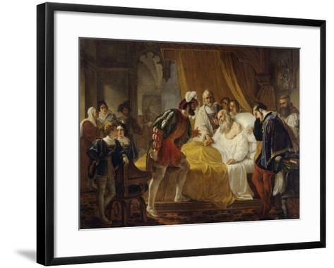 Francis I at the Deathbed of Leonardo Da Vinci, 1828-Cesare Mussini-Framed Art Print