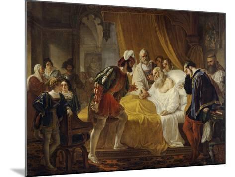 Francis I at the Deathbed of Leonardo Da Vinci, 1828-Cesare Mussini-Mounted Giclee Print