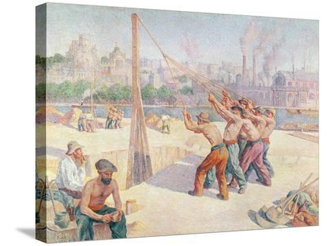 Workers on the Quai De La Seine at Billancourt, 1902-3-Maximilien Luce-Stretched Canvas Print