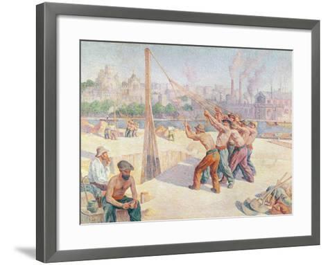 Workers on the Quai De La Seine at Billancourt, 1902-3-Maximilien Luce-Framed Art Print