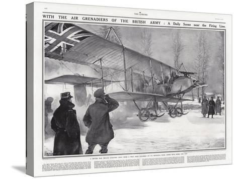 British Biplane at an Airfield Near Hollebeke, Belgium, World War I-Addison Thomas Millar-Stretched Canvas Print