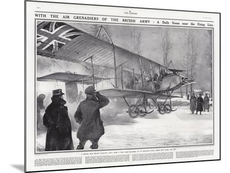 British Biplane at an Airfield Near Hollebeke, Belgium, World War I-Addison Thomas Millar-Mounted Giclee Print