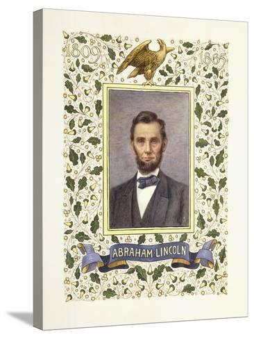 An Illuminated Page with a Miniature Portrait of Abraham Lincoln, 1928-Alberto Sangorski-Stretched Canvas Print