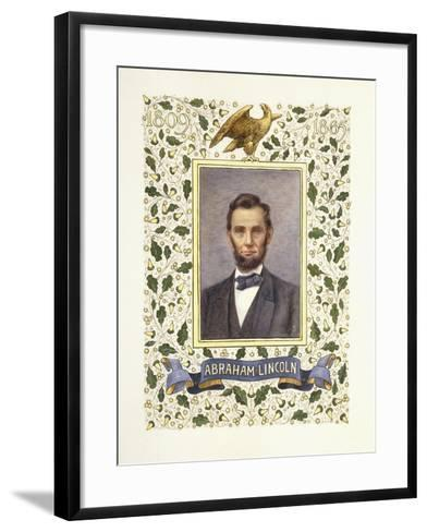 An Illuminated Page with a Miniature Portrait of Abraham Lincoln, 1928-Alberto Sangorski-Framed Art Print