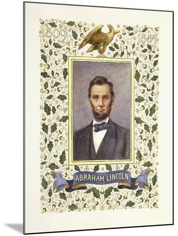 An Illuminated Page with a Miniature Portrait of Abraham Lincoln, 1928-Alberto Sangorski-Mounted Giclee Print
