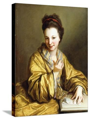 A Young Lady, Wearing a Yellow Robe, Seated at a Table, Beckoning, 1703-Jean Baptiste Santerre-Stretched Canvas Print