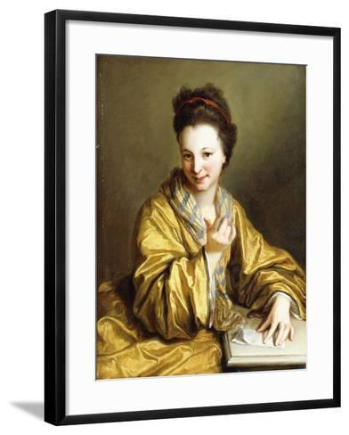 A Young Lady, Wearing a Yellow Robe, Seated at a Table, Beckoning, 1703-Jean Baptiste Santerre-Framed Art Print