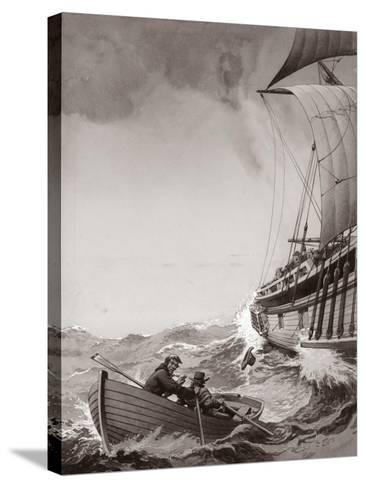 Two King's Messengers Attempt to Row into the Harbour at Calais-Pat Nicolle-Stretched Canvas Print