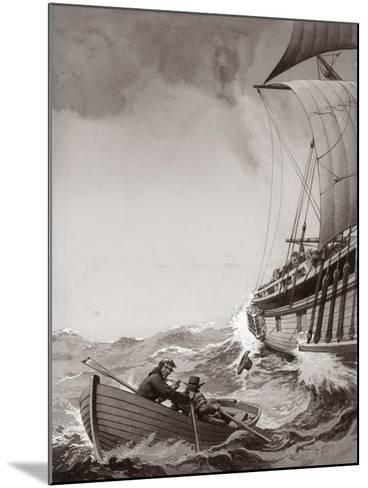 Two King's Messengers Attempt to Row into the Harbour at Calais-Pat Nicolle-Mounted Giclee Print