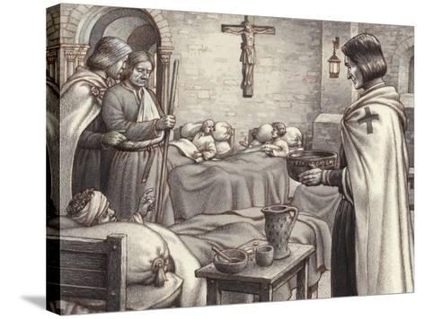 Godfrey De Bouillon Watches Benedictine Monks Caring for the Wounded-Pat Nicolle-Stretched Canvas Print