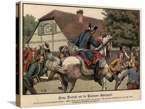 King Frederick the Great and the Schoolchildren of Potsdam-Carl Rochling-Stretched Canvas Print