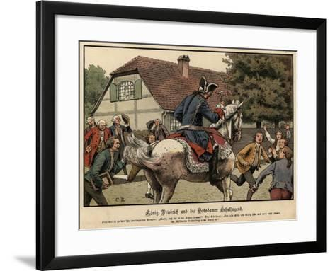 King Frederick the Great and the Schoolchildren of Potsdam-Carl Rochling-Framed Art Print