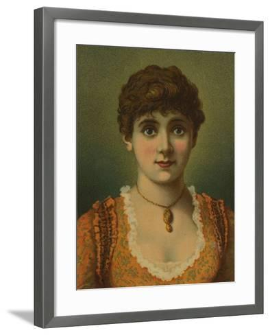 Handsome Woman, Wearing Pendant, with Large Blue Eyes--Framed Art Print