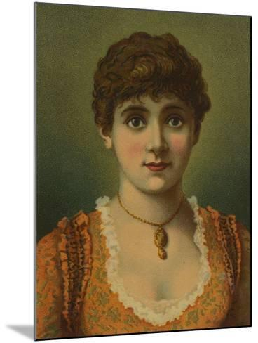 Handsome Woman, Wearing Pendant, with Large Blue Eyes--Mounted Giclee Print