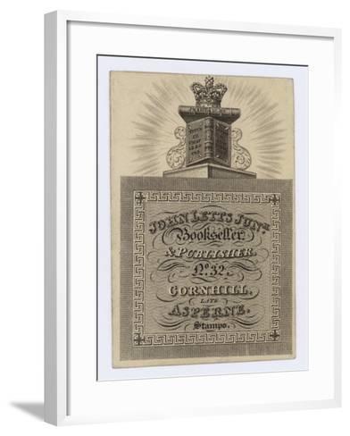 Bookseller and Publisher, John Letts Junior, Trade Card--Framed Art Print