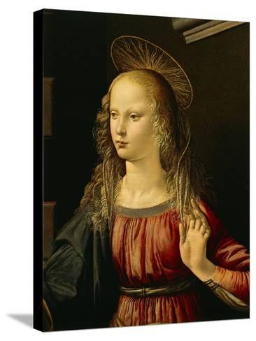 Virgin Mary, Detail from Annunciation, 1472-1475-Leonardo da Vinci-Stretched Canvas Print