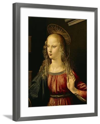 Virgin Mary, Detail from Annunciation, 1472-1475-Leonardo da Vinci-Framed Art Print