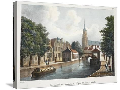 Le Marché Aux Poissons, Et L'Eglise St Jean À Gouda, C.1895--Stretched Canvas Print