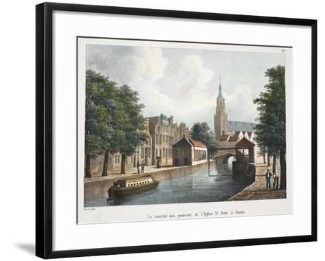 Le Marché Aux Poissons, Et L'Eglise St Jean À Gouda, C.1895--Framed Art Print