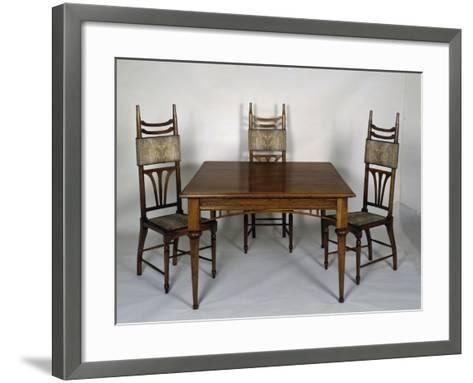 Art Nouveau Style Dining Room Table and Chairs, 1902-Carlo Zen-Framed Art Print