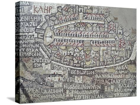 Detail of a Byzantine Mosaic Depicting City of Jerusalem--Stretched Canvas Print
