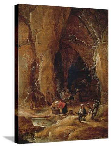 Vagabonds and Washerwomen in Cave-David Teniers II-Stretched Canvas Print