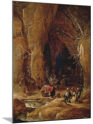 Vagabonds and Washerwomen in Cave-David Teniers II-Mounted Giclee Print