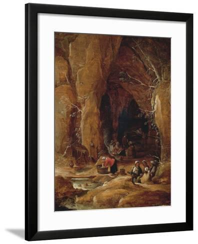 Vagabonds and Washerwomen in Cave-David Teniers II-Framed Art Print