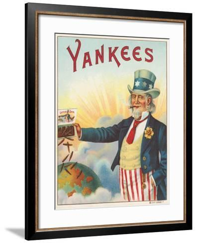 Yankees, Outer Cigar Box Label, Printed by Hermann Shott, C.1912--Framed Art Print