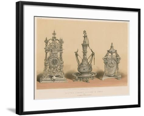 Silver Chased Clocks and Ewer by Barbedienne, Paris--Framed Art Print