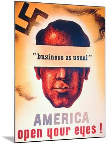 'America Open Your Eyes!', World War Two Poster, 1941--Mounted Giclee Print