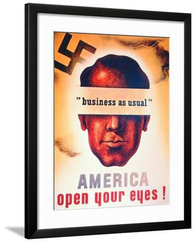 'America Open Your Eyes!', World War Two Poster, 1941--Framed Art Print