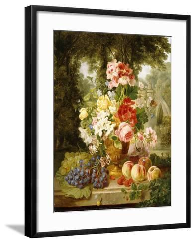 A Vase of Summer Flowers and Fruit on a Ledge in a Landscape, 1867-William John Wainwright-Framed Art Print