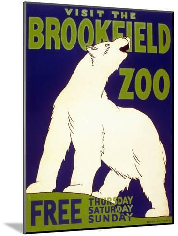Poster Advertising Brookfield Zoo in Chicago, Illinois, 1938--Mounted Giclee Print